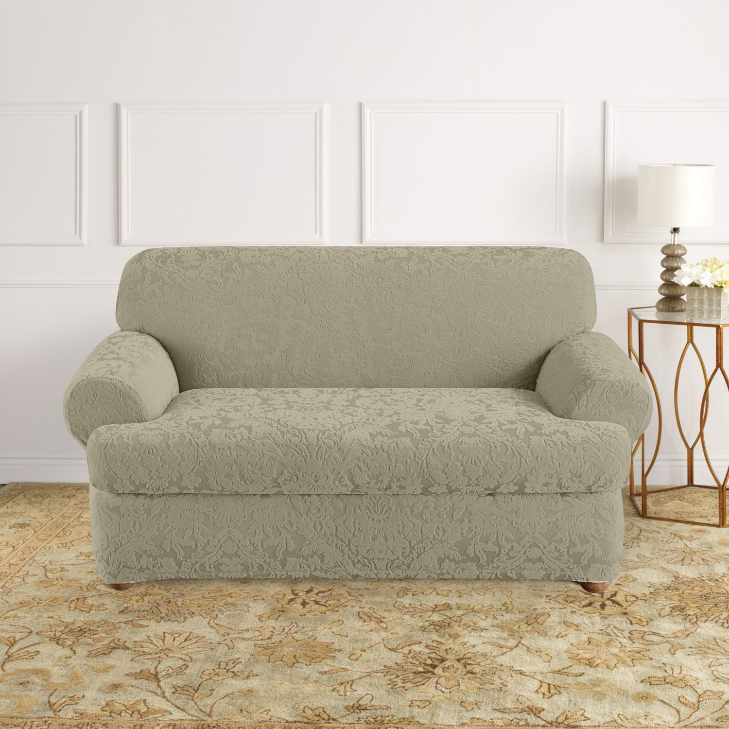 Damask Sofa Slipcover Perfect Quickcover Damask Embossed Stretch