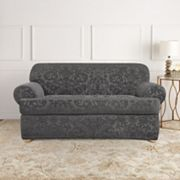 Sure Fit Stretch Jacquard Damask 2 pc T-Cushion Loveseat Slipcover