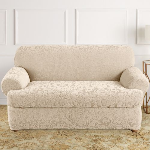 Sure Fit Stretch Jacquard Damask 2 Pc T Cushion Loveseat Slipcover