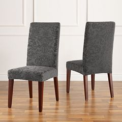 Stretch Jacquard Damask Short Dining Room Chair Slipcover