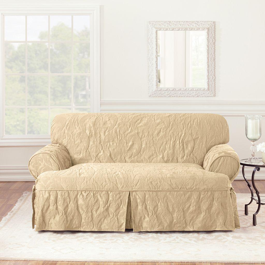 Sure Fit Matelasse Damask T-Cushion Loveseat Slipcover