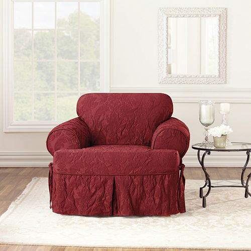 Sure Fit Matelasse Damask T Cushion Chair Slipcover