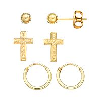 Charming Girl 14k Gold Vermeil Ball & Cross Stud, & Endless Hoop Earring Set - Kids
