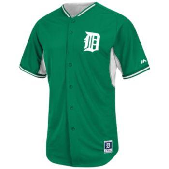 Men's Majestic Detroit Tigers Green Cool Base Batting Practice Jersey