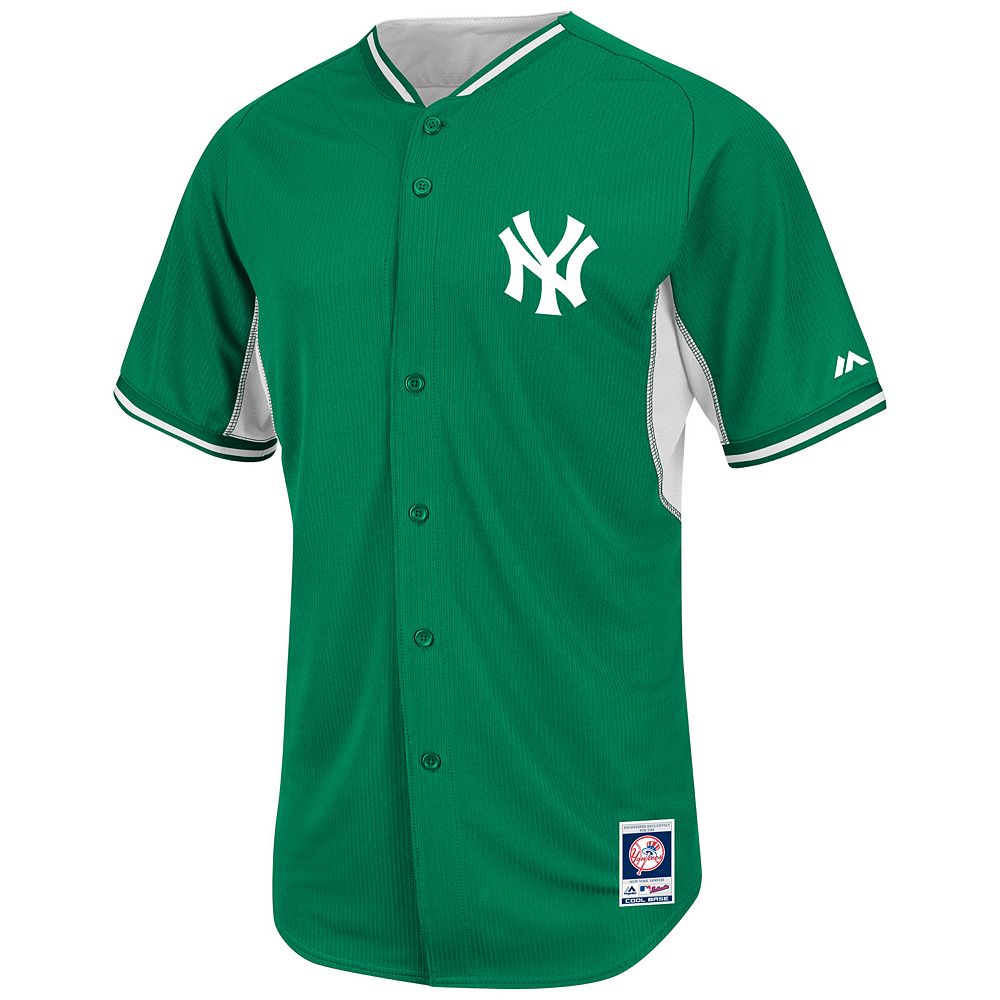 newest 9075a 3b621 Men's Majestic New York Yankees Green Cool Base Batting ...