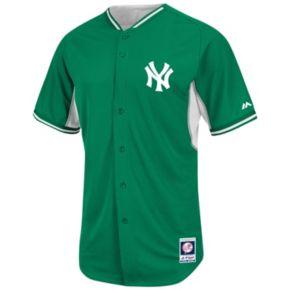 Men's Majestic New York Yankees Green Cool Base Batting Practice Jersey