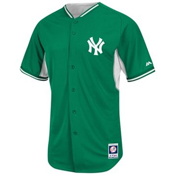 Men's Majestic New York Yankees Green Cool Base Batting Practice Jersey