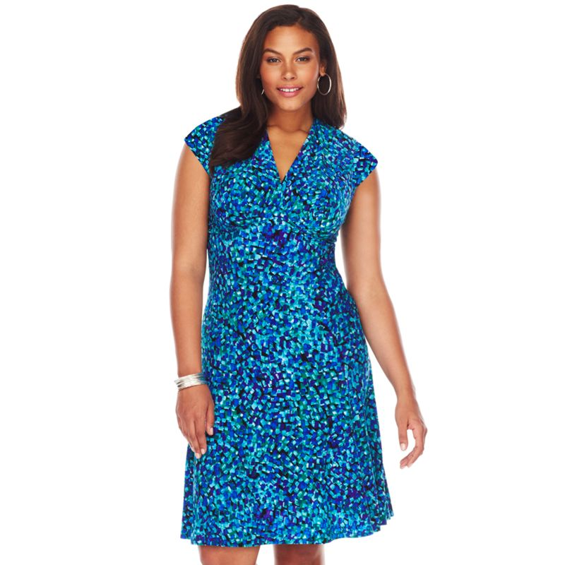 Chaps Empire Gored Dress - Women's Plus Size, Size: 16 W (Blue)