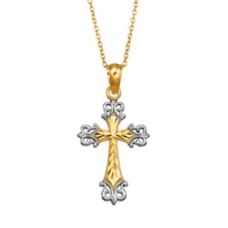 Charming Girl 14k Gold Vermeil Two Tone Textured Cross Pendant Necklace - Kids