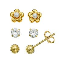 Charming Girl Freshwater Cultured Pearl & Cubic Zirconia Flower & Ball Stud Earring Set - Kids
