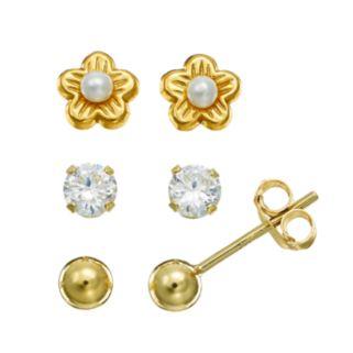Charming Girl Freshwater Cultured Pearl & Cubic Zirconia Flower & Ball Stud Earring Set - Kids