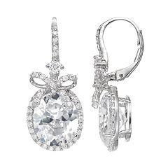 Sophie Miller Cubic Zirconia Sterling Silver Bow Halo Drop Earrings
