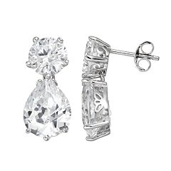 Sophie Miller Cubic Zirconia Sterling Silver Drop Earrings