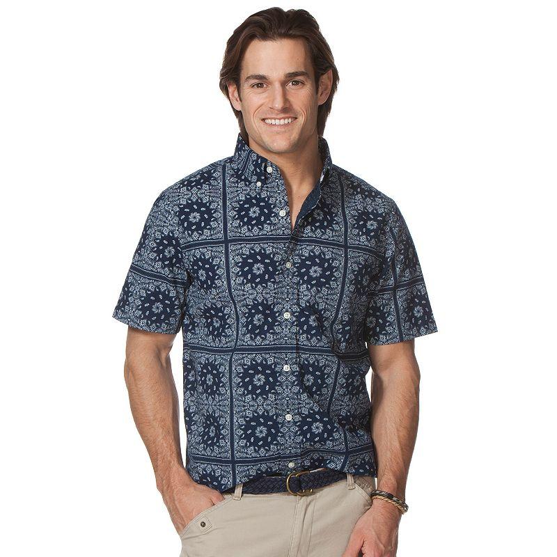 Big & Tall Chaps Crosshatch Bandana Pring Button-Down Shirt