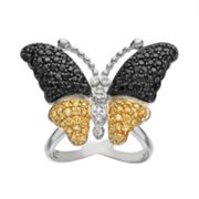 Sophie Miller Cubic Zirconia Sterling Silver & 14k Gold Over Silver Butterfly Ring
