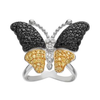 Sophie Miller Cubic Zirconia Sterling Silver and 14k Gold Over Silver Butterfly Ring