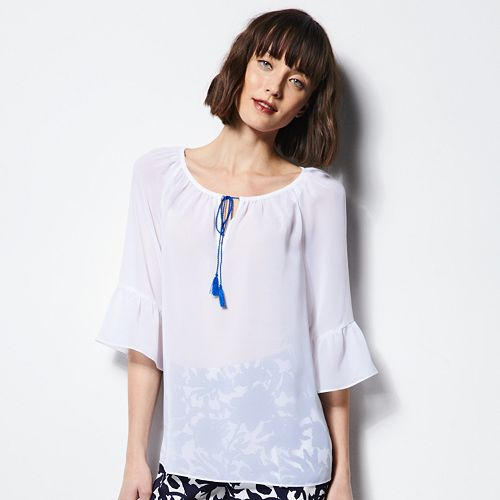 MILLY for DesigNation Ruffled Peasant Blouse - Women's