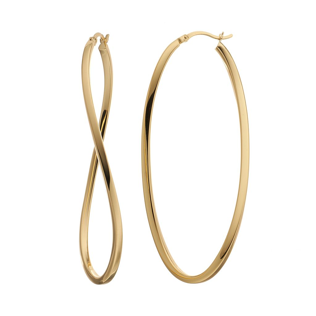 AMORE by SIMONE I. SMITH Sterling Silver Wavy Oval Hoop Earrings