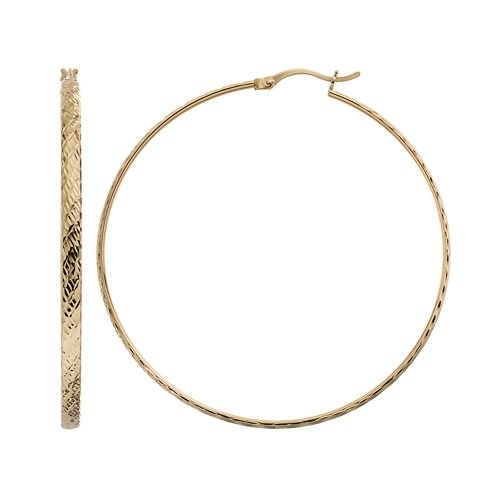 AMORE by SIMONE I. SMITH Sterling Silver Textured Hoop Earrings