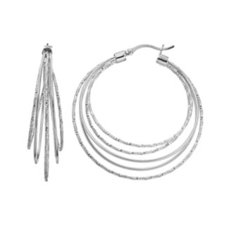 AMORE by SIMONE I. SMITH Sterling Silver Textured Concentric Hoop Earrings