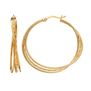 AMORE by SIMONE I. SMITH Sterling Silver Textured Triple Hoop Earrings