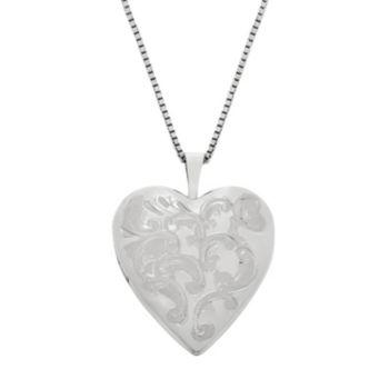 Sterling Silver Floral Engraved Locket Necklace