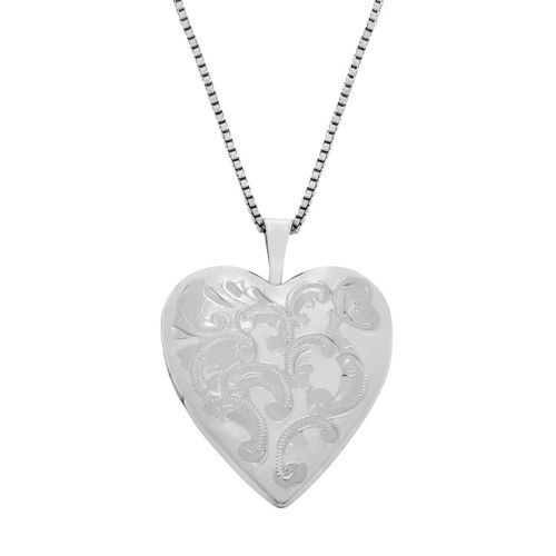 Sterling Silver Floral Engraved Locket Necklace by Kohl's