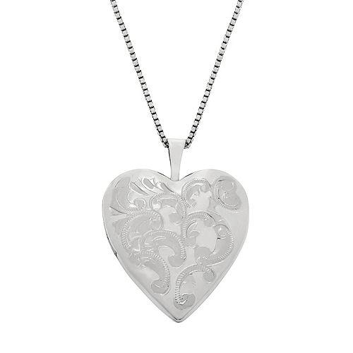 26c9ec7839 Sterling Silver Floral Engraved Locket Necklace