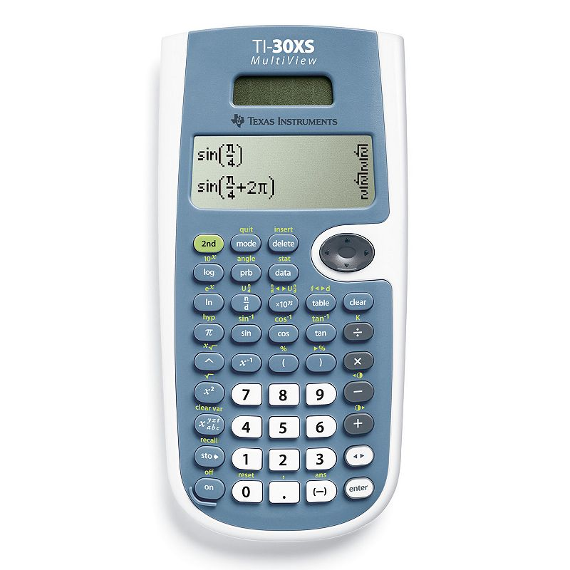 Texas Instruments TI-30XS MultiView Scientific Calculator Perfect for general math, statistics, algebra, geometry and chemistry, this Texas Instruments TI-30XS MultiView calculator is not to be missed. Four-line display makes multitasking easy. One and two variable statistics lend convenience. Fraction and decimal conversion saves time. Step-by-step fraction simplification enhances your math skills. Edit, cut and paste entries for hassle-free use. Solar- and battery-powered design provides lasting use. PRODUCT CARE Manufacturer's 1-year limited warrantyFor warranty information please click hereFor information about the modified return policy, please click here Uses one lithium ion battery (included) Model no. TI30XSMULTIVIEW  Size: One Size. Color: Multicolor. Gender: unisex. Age Group: adult.