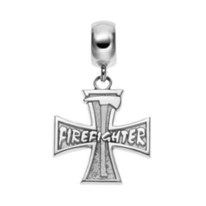 "Insignia Collection Sterling Silver Cross & Axe ""Firefighter"" Charm"