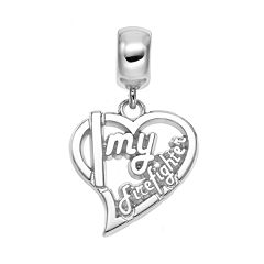 Insignia Collection Sterling Silver 'Firefighter' Heart Charm