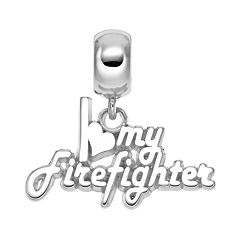 Insignia Collection Sterling Silver 'I Love My Firefighter' Charm