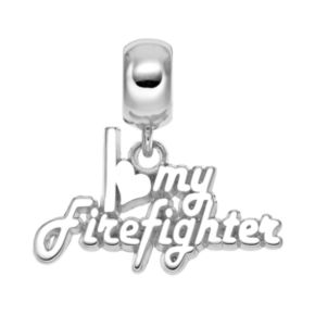 "Insignia Collection Sterling Silver ""I Love My Firefighter"" Charm"
