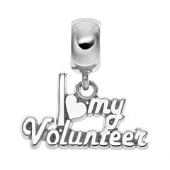 Insignia Collection Sterling Silver 'I Love My Volunteer' Charm