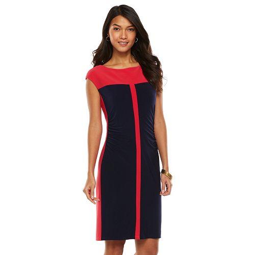 9e1a512b Chaps Colorblock Ruched Sheath Dress - Women's