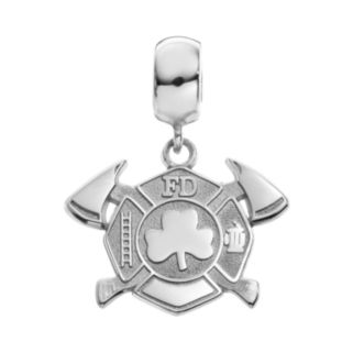 Insignia Collection Sterling Silver Maltese Cross Axes and Shamrock Charm