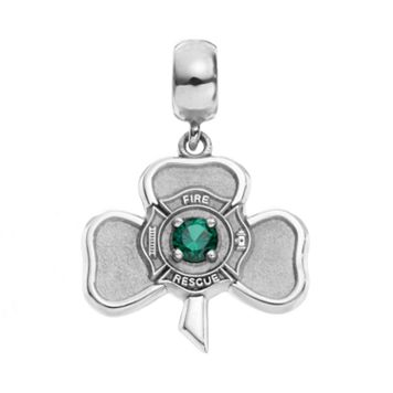 Insignia Collection Simulated Emerald Sterling Silver Irish Shamrock Maltese Cross Charm