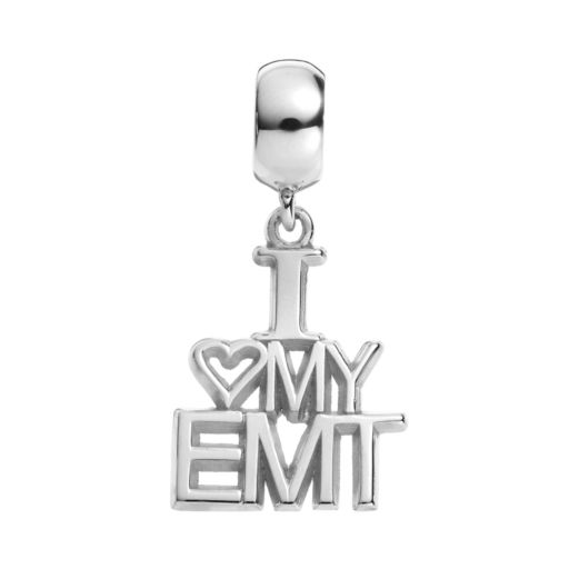"Insignia Collection Sterling Silver ""I Love My EMT"" Charm"