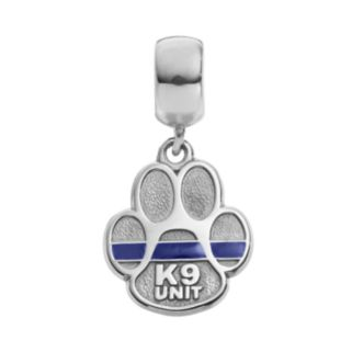 """Insignia Collection Sterling Silver """"K9 Unit"""" Paw Charm"""