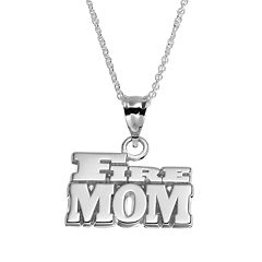 Insignia Collection Sterling Silver 'Fire Mom' Pendant Necklace