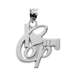 "Insignia Collection Sterling Silver ""I Love My Cop"" Pendant"