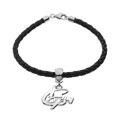 Insignia Collection Sterling Silver & Leather 'I Love My Cop' Bracelet