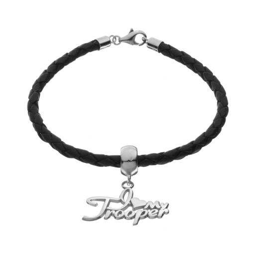"""Insignia Collection Sterling Silver & Leather """"I Love My Trooper"""" Bracelet"""