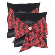 Safavieh Tartan Bow 2 pc Throw Pillow Set