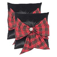 Safavieh Tartan Bow 2 pc Throw Pillow Set