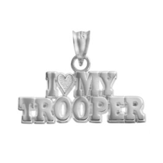 """Insignia Collection Sterling Silver """"I Love My Trooper"""" Pendant"""