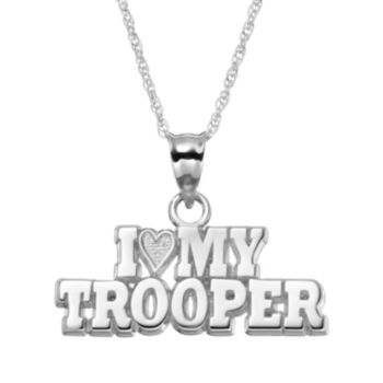 "Insignia Collection Sterling Silver ""I Love My Trooper"" Pendant Necklace"