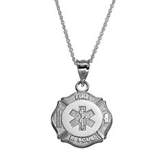 Insignia Collection Sterling Silver Maltese Cross & Star of Life Pendant Necklace