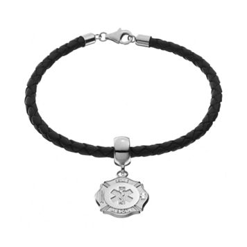 Insignia Collection Sterling Silver & Leather Maltese Cross & Star of Life Charm Bracelet