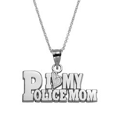 Insignia Collection Sterling Silver 'I Love My Police Mom'
